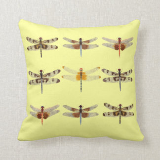9 Dragonflies on Yellow Pillow