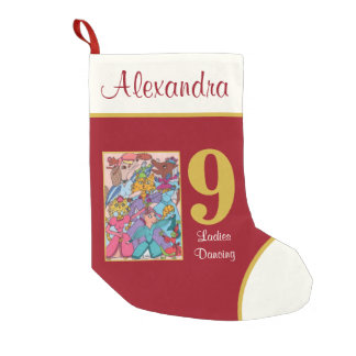9 Ladies Dancing Cute Animals Custom Name Small Christmas Stocking