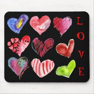 9 Love Hearts on Black Mousepad