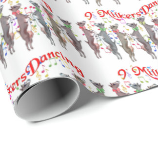 9 Milkers Dancing  Goat Christmas Wrapping Paper
