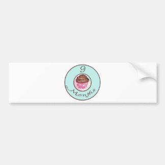 9 Months Cupcake Milestone Bumper Sticker