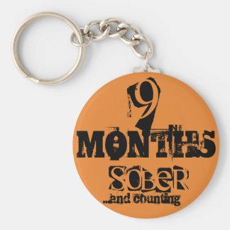 9 Months Sobriety Keychain