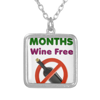 9 months wine free, pregnant mom, pregnancy gift silver plated necklace