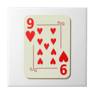 9 of Hearts Playing Card Tiles