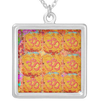 9 Om Mantra Images representing NAV DURGA Silver Plated Necklace