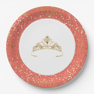"""9"""" Paper Plates-Golden Stars Tiara-Coral Paper Plate"""