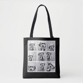 9 Photo Collage Custom Monogram Change Back Color Tote Bag