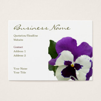 9 Purple White Painted Pansy Business Card