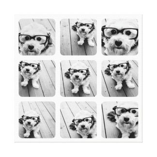 9 Square Photo Collage Rounded Corner Frames Canvas Print