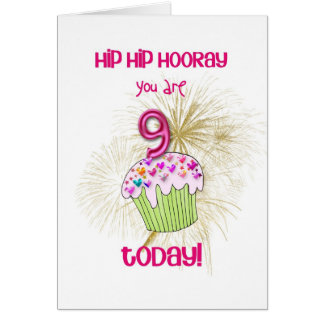 9 today cupcake birthday card