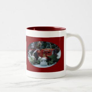 9 toy tractors at christmas Two-Tone coffee mug