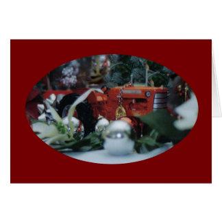 9 tracteurs de jouet à Noël Carte De Vœux