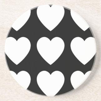 9 White on Black Hearts Coaster