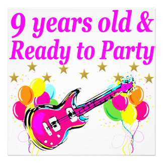 9 YEARS OLD AND READY TO PARTY ROCK STAR DESIGN PHOTO PRINT