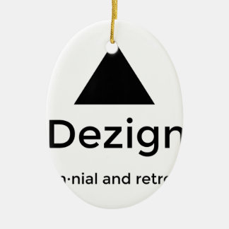 9Dezigns Millennial and Retro Gear Ceramic Oval Ornament