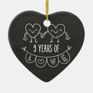9th Anniversary Gift Chalk Hearts Ceramic Ornament