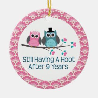 9th Anniversary Owl Wedding Anniversaries Gift Ceramic Ornament