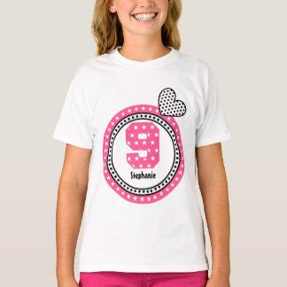 9th Birthday Gift Stars Heart Custom Name V12B T-Shirt