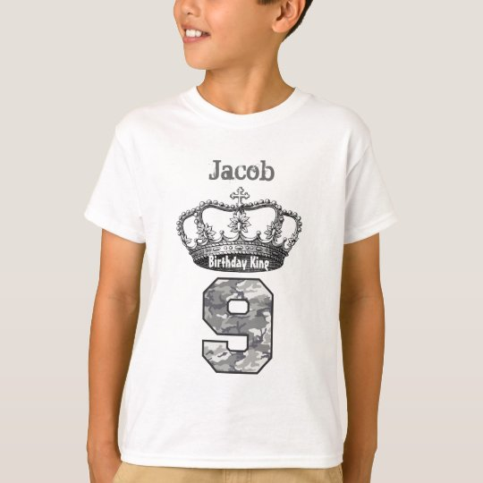 9th Birthday King Crown and Camouflage V01 T-Shirt