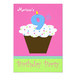 9th Birthday Party Invitation 9 Candle