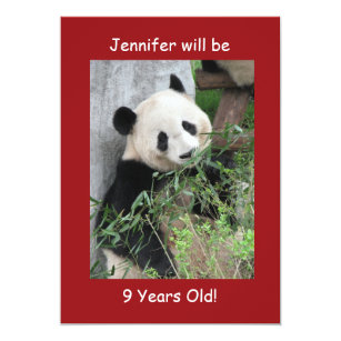 9th Birthday Party Invitation Giant Pandas Red