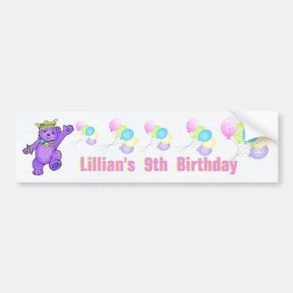 9th Birthday Party Purple Princess Bear Car Bumper Sticker