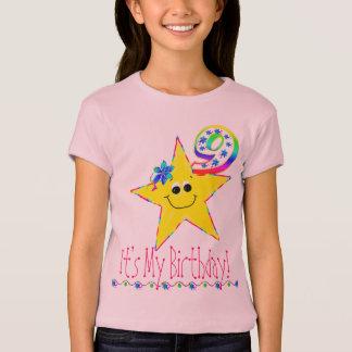 9th Birthday Party Shirt Smiley Stars