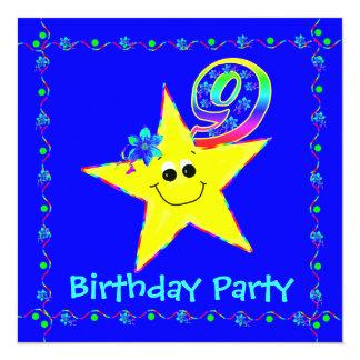 9th Birthday Party Smiley Stars Invitations