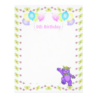 9th Birthday Princess Bear Party Scrapbook Paper 1
