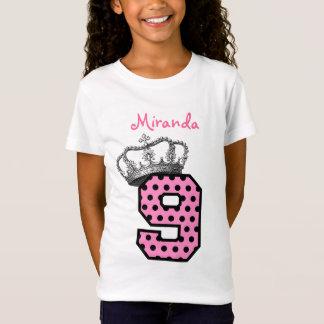 9th Birthday Princess Crown and Hearts V04 T-Shirt