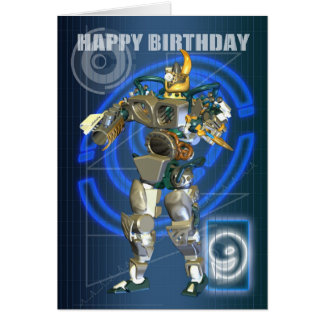 9th Happy Birthday with Robot warrior Greeting Card