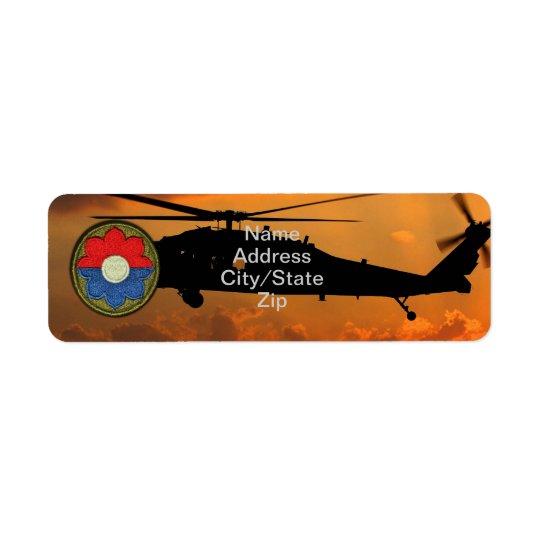 9th ID Infantry Division Veterans Vets Patch Return Address Label