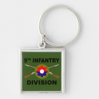 9th Infantry Division - Crossed Rifles - With Text Keychain
