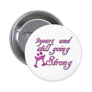 9th wedding anniversary button
