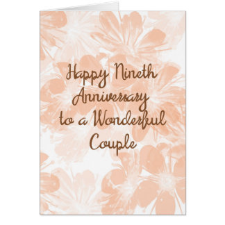 9th Wedding Anniversary Card Peach Flowers