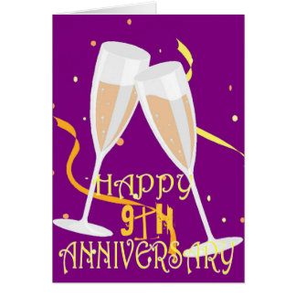 9th wedding anniversary champagne celebration card