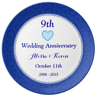9th Wedding Anniversary Lapis Blue and Lace A09A Plate