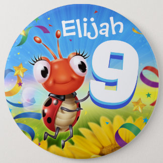 9yrs Custom birthday badge Little Ladybug range 6 Inch Round Button