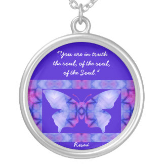 A01. Butterfly - With Quote - Necklace.3 Silver Plated Necklace