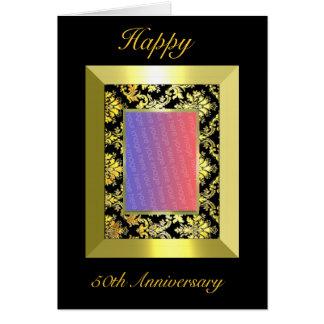A1 50th Anniversary Gold Black Damask Photo Card