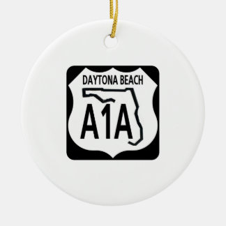 A1A Daytona Beach Ceramic Ornament