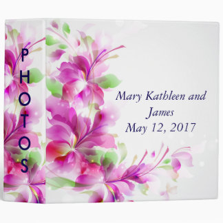 A2-Pink & Green Spring Floral Wedding Photo Album 3 Ring Binders