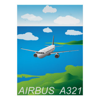 A321 Airliner Vector Poster