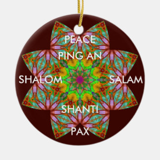 A62 Kaleidoscopic Peace Ornament.1 Ceramic Ornament