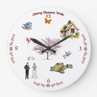 A71 Cherry Blossom Bride Wall Clock
