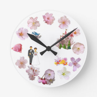 A72 Cherry Blossom Bride Wall Clock