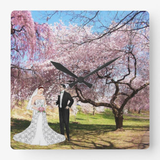 A73 Cherry Blossom Bride Wall Clock