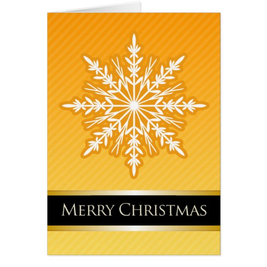 A7 Orange Snowflake Striped Modern Christmas Card