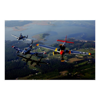 A-10, F-86, P-38 & P-51 Heritage Formation Poster