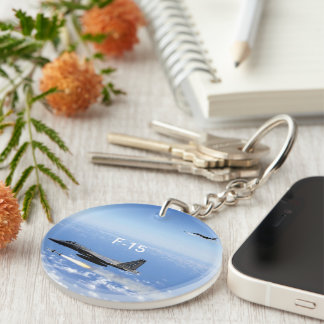 A-10 WARTHOG AND F-15 EAGLE - 2 SIDED Double-Sided ROUND ACRYLIC KEYCHAIN